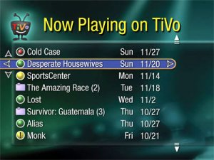 Tivo's Now Playing Screen