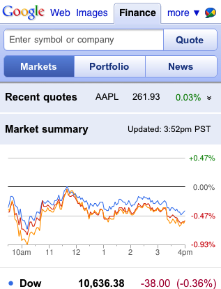 Google Finance Mobile