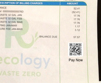 Garbage bill with QR code payment
